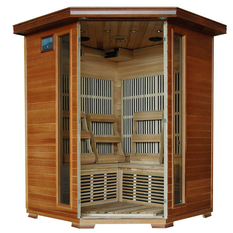 3-Person Cedar Corner Infrared Sauna w/ 7 Carbon Heaters - Houux