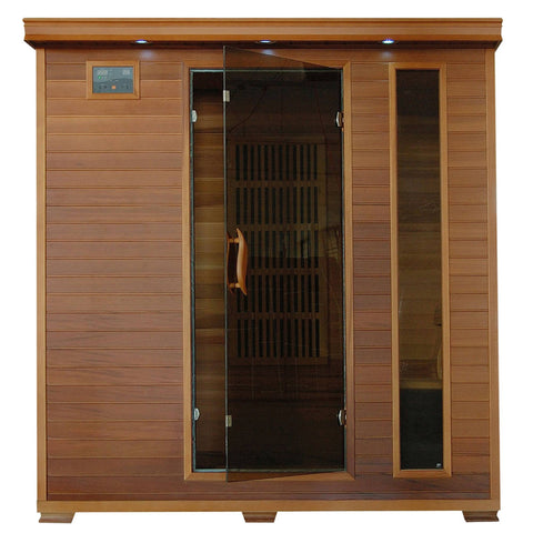 Klondike 4-Person Cedar Infrared Sauna with Chromotherapy Lighting - Houux