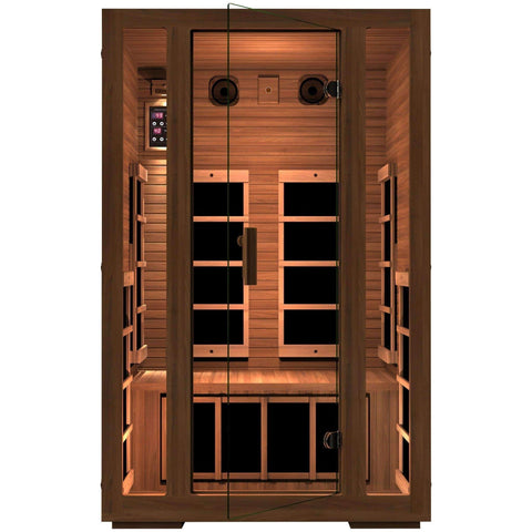 JNH Lifestyles Freedom 2 Person Red Cedar Wood Carbon Fiber Far Infrared Sauna - Houux