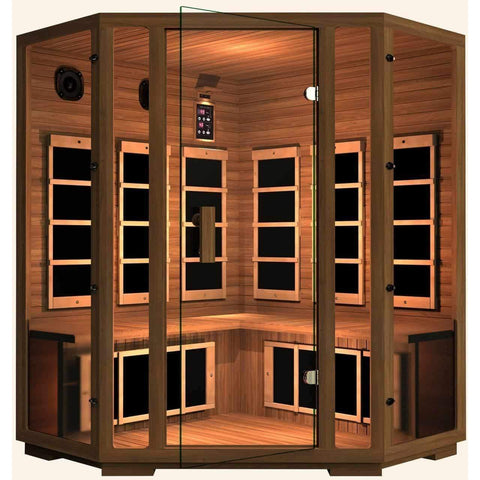 JNH Lifestyles Freedom 4 Person Corner Design Freedom Canadian Red Cedar Wood Carbon Fiber Far Infrared Sauna - Houux