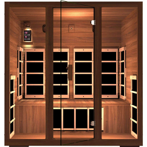 JNH Lifestyles Freedom 4 Person Red Cedar Wood Carbon Fiber Far Infrared Sauna - Houux