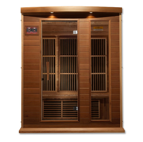 "Golden Designs Maxxus ""Avignon Edition"" 3 Per Near Zero EMF FAR Infrared Carbon Canadian Red Cedar Sauna MX-K306-01-ZF Ced"