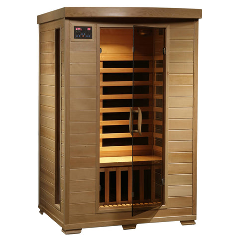Coronado 2-Person Hemlock Deluxe Infrared Sauna w/ 6 Carbon Heaters - Houux