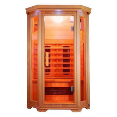 "SunRay Saunas Heathrow 2 Person FAR Infrared Sauna Natural Canadian Hemlock 47""x 45""x75"" HL200W"
