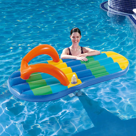 Beach Striped Flip Flop 71-in Inflatable Pool Float - Houux