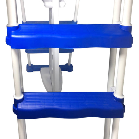 52-in A-Frame Ladder w/ Safety Barrier and Removable Steps for Above Ground Pools - Houux