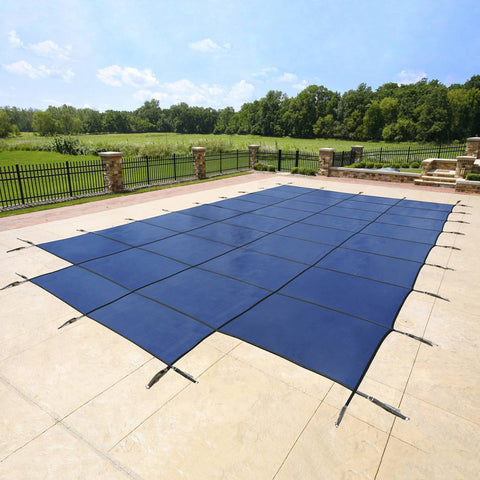 18-Year Mesh In-Ground Pool Safety Cover w/ Step Section - Tan - Houux