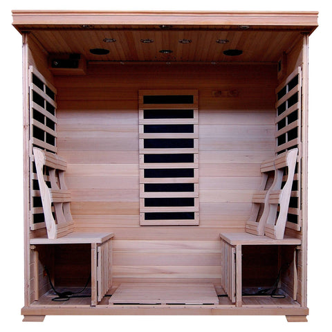 Monticello 4-Person Hemlock Infrared Sauna w/ 9 Carbon Heaters - Houux