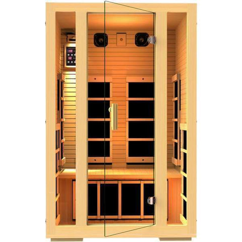 JNH Lifestyles Joyous 2 Person Sauna Hemlock Wood Carbon Fiber Infrared - Houux
