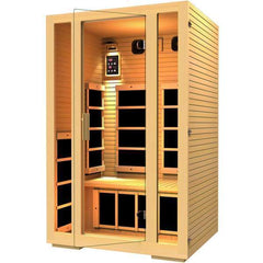 JNH Lifestyles Joyous 2 Person Sauna Hemlock Wood Carbon Fiber Infrared