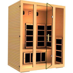 JNH Lifestyles Joyous 3 Person Hemlock Wood Carbon Fiber Far Infrared Sauna
