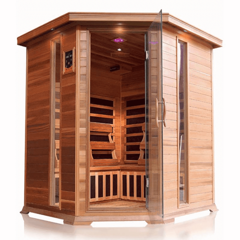 "SunRay Bristol Bay 4 Person Canadian Red Cedar Infrared Sauna 65"" x 65"" x 75"" HL400KC - Houux"