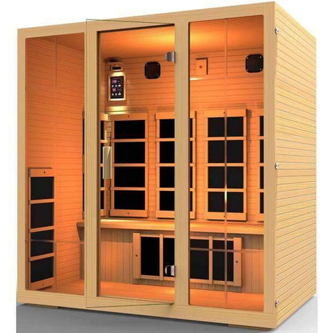 JNH Lifestyles Joyous 4 Person Hemlock Wood Carbon Fiber Far Infrared Sauna - Houux