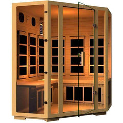 JNH Lifestyles Joyous 4 Person Corner Design Joyous Canadian Hemlock Wood Carbon Fiber Far Infrared Sauna