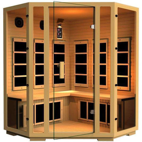 JNH Lifestyles Joyous 4 Person Corner Design Joyous Canadian Hemlock Wood Carbon Fiber Far Infrared Sauna - Houux
