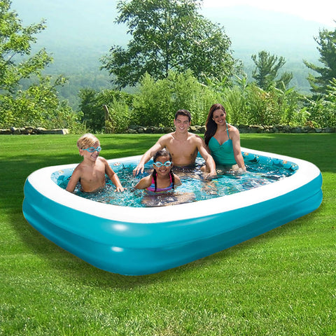 3D Inflatable Rectangular Family Pool - 103-in x 69-in - Houux