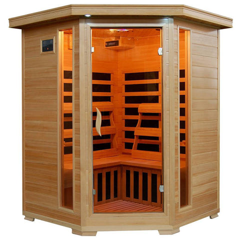 Sante Fe 3-Person Hemlock Corner Infrared Sauna w/ 7 Carbon Heaters - Houux