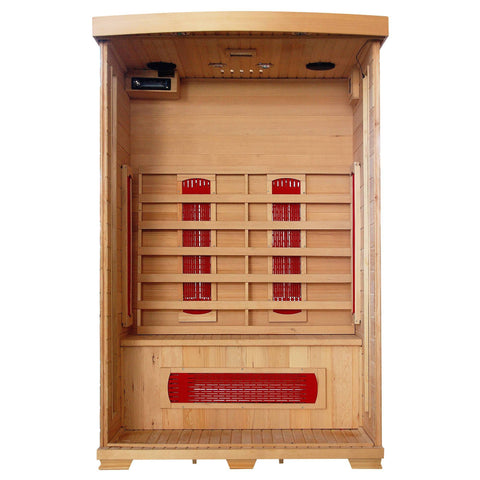 Coronado 2-Person Hemlock Deluxe Infrared Sauna w/ 5 Ceramic Heaters - Houux