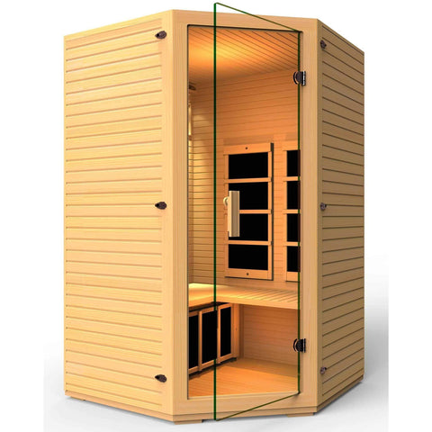 JNH Lifestyles Vivo 2-3 Person Hemlock Wood Carbon Fiber Far Infrared Sauna - Houux