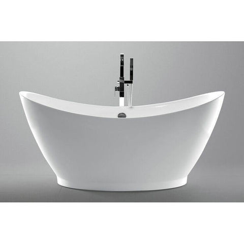 "Legion Furniture 67.7"" White Freestanding Double Slipper Acrylic Tub WE6513 - Houux"