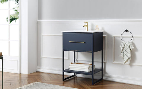 "Legion Furniture WH7024-BL 24"" Blue Finish Sink Vanity With Black Metal Frame - Houux"
