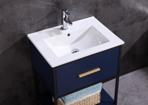 "Legion Furniture WH7024-BL-PVC 24"" Blue Finish Sink Vanity With Black Metal Frame, PVC - Houux"