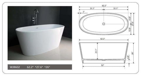 "Legion Furniture WJ8602-W 62.2"" White Matt Solid Surface Tub, No Faucet - Houux"