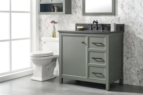 "Legion Furniture WLF2136-PG 36"" Pewter Green Finish Sink Vanity Cabinet With Blue Lime Stone Top - Houux"