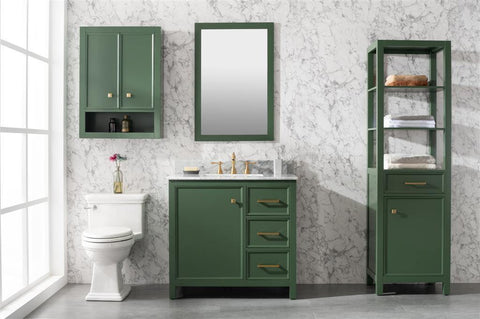 "Legion Furniture WLF2136-VG 36"" Vogue Green Finish Sink Vanity Cabinet With Carrara White Top - Houux"