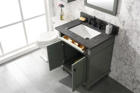"Legion Furniture WLF2230-PG 30"" Pewter Green Finish Sink Vanity Cabinet With Blue Lime Stone Top - Houux"