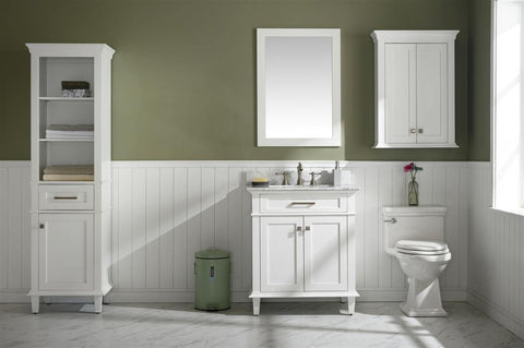 "Legion Furniture WLF2230-W 30"" White Finish Sink Vanity Cabinet With Carrara White Top - Houux"
