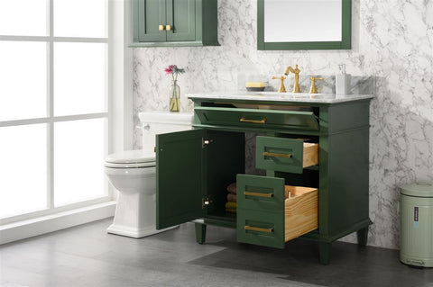 "Legion Furniture WLF2236-VG 36"" Vogue Green Finish Sink Vanity Cabinet With Carrara White Top - Houux"