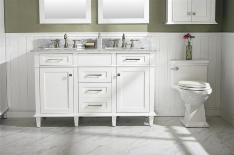 "Legion Furniture WLF2254-W 54"" White Finish Double Sink Vanity Cabinet With Carrara White Top - Houux"
