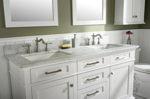 "Legion Furniture WLF2260D-W 60"" White Finish Double Sink Vanity Cabinet With Carrara White Top - Houux"