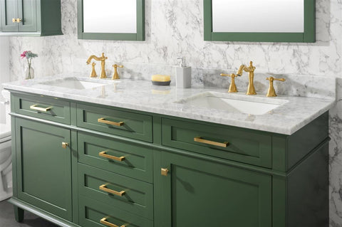 "Legion Furniture WLF2272-VG 72"" Vogue Green Double Single Sink Vanity Cabinet With Carrara White Top - Houux"