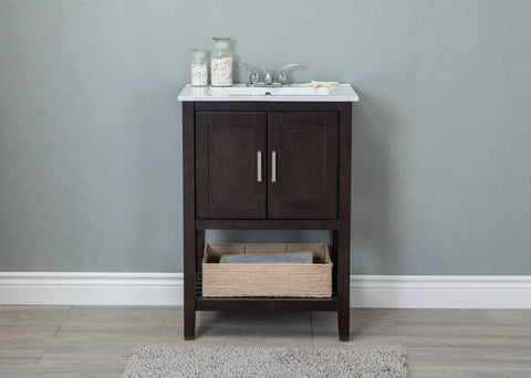 "Legion Furniture WLF6020-C-BS 24"" Sink Vanity With Basket Without Faucet - Houux"