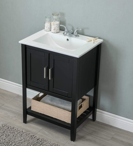 "Legion Furniture WLF6020-E-BS 24"" Sink Vanity With Basket Without Faucet - Houux"
