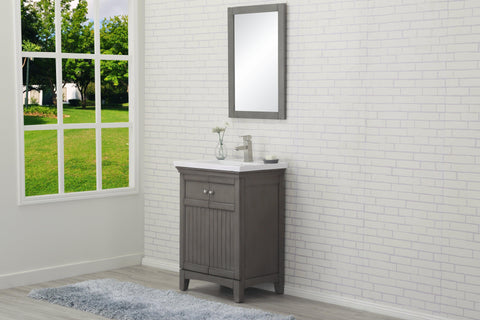 "Legion Furniture WLF7016-SG 24"" Silver Gray Sink Vanity, No Faucet - Houux"