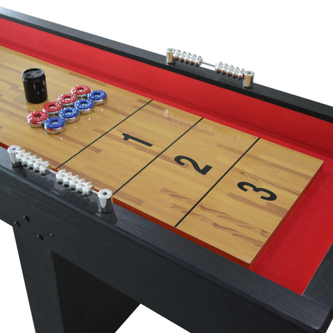 Avenger 9-Foot Shuffleboard for Family Game Rooms with Padded Gutters, Leg Levelers, 8 Pucks and Wax - Houux