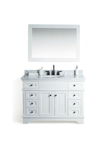 "Legion Furniture WS2048-W 48"" Solid Wood Sink Vanity With Mirror and Faucet - Houux"
