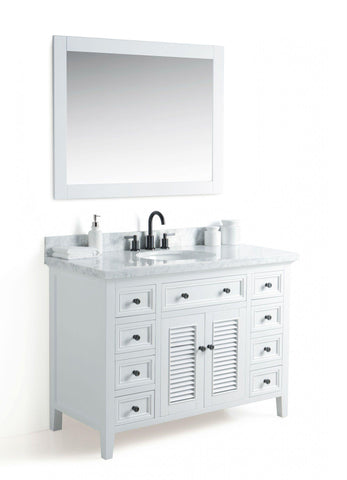 "Legion Furniture WS2148-W 48"" Solid Wood Sink Vanity With Mirror and Faucet - Houux"