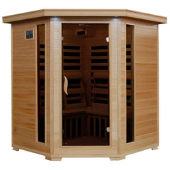 Tucson 4-Person Hemlock Corner Infrared Sauna w/ 10 Carbon Heaters - Houux