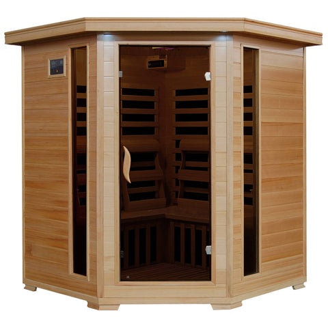 Tucson 4-Person Hemlock Corner Infrared Sauna w/ 10 Carbon Heaters