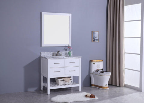 Legion Furniture WT7136-W Sink Vanity With Mirror, Without Faucet - Houux