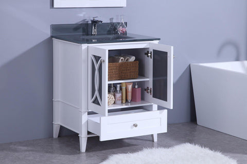 Legion Furniture WT7430-WT Sink Vanity With Mirror, Without Faucet - Houux