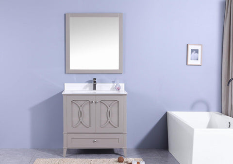 Legion Furniture WT7436-GW Sink Vanity With Mirror, Without Faucet - Houux