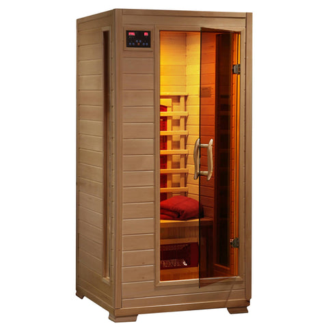 Buena Vista 1-2 Person Hemlock Infrared Sauna w/ 3 Ceramic Heaters - Houux