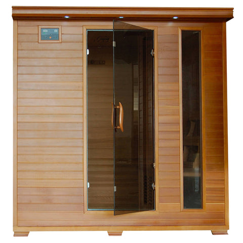 Great Bear 6-Person Cedar Infrared Sauna w/ 10 Carbon Heaters - Houux