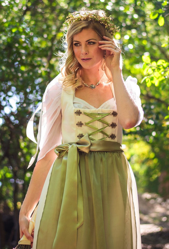 Bridal Dirndl with Classic Square Neckline