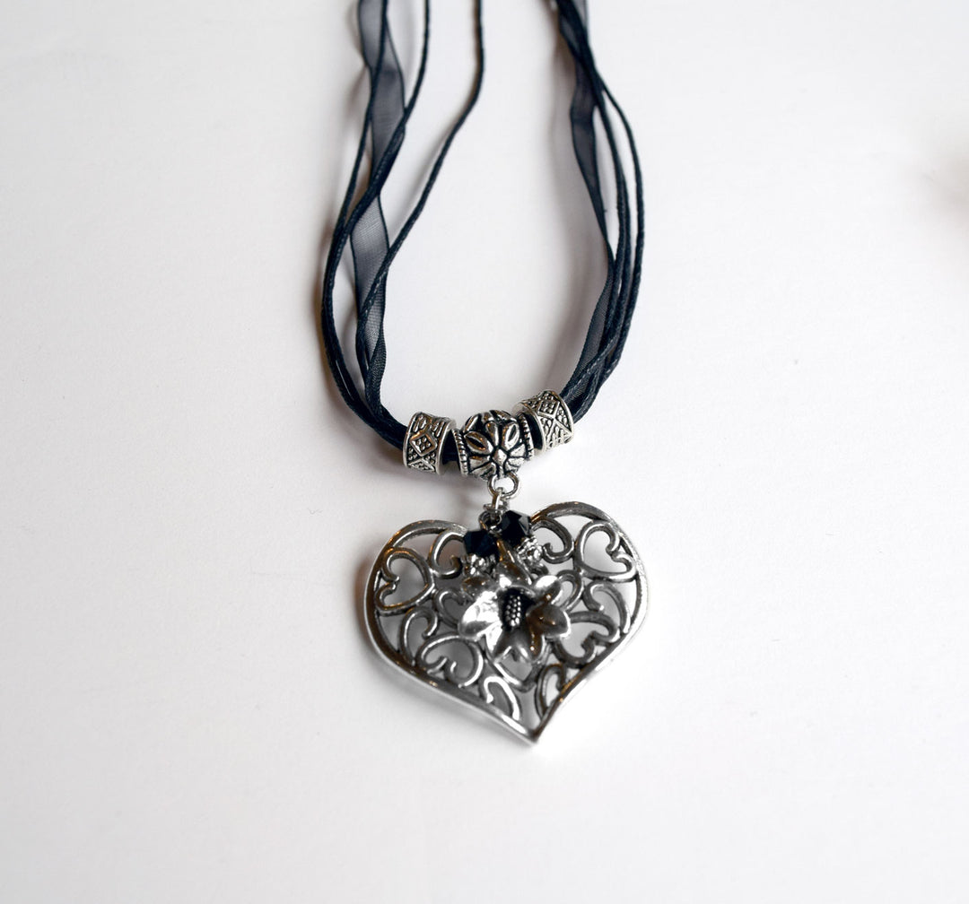 Filigree Heart and Gentian Flower Necklace